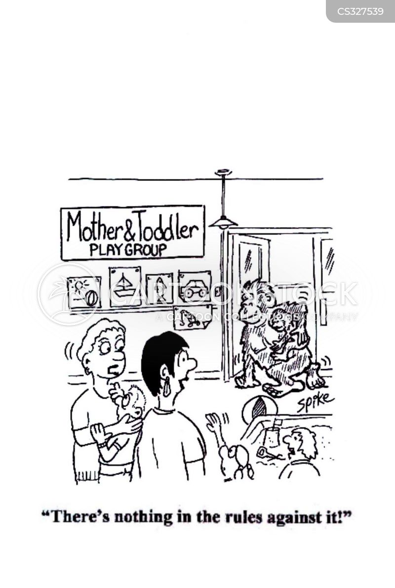 mother and toddler cartoon