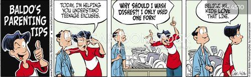 washing dishes cartoon