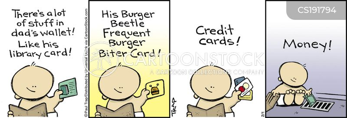 bank cards cartoon
