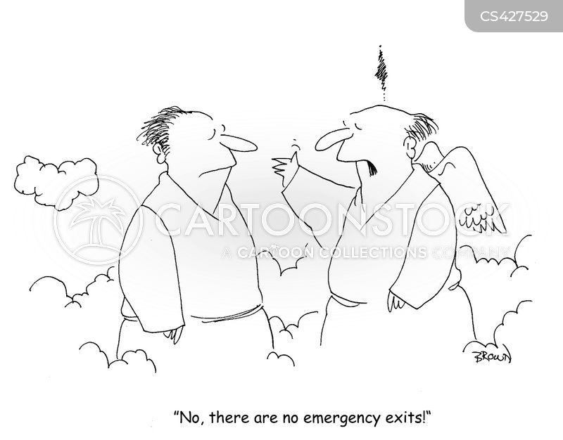emergency exits cartoon