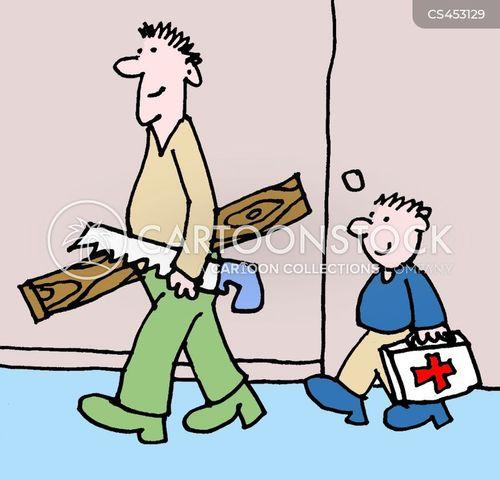 sawing cartoon
