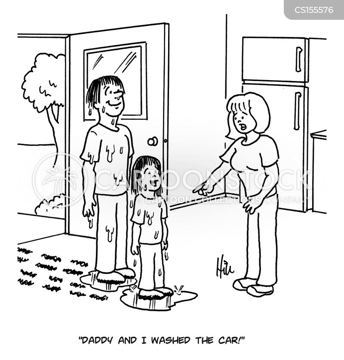 washing cars cartoon