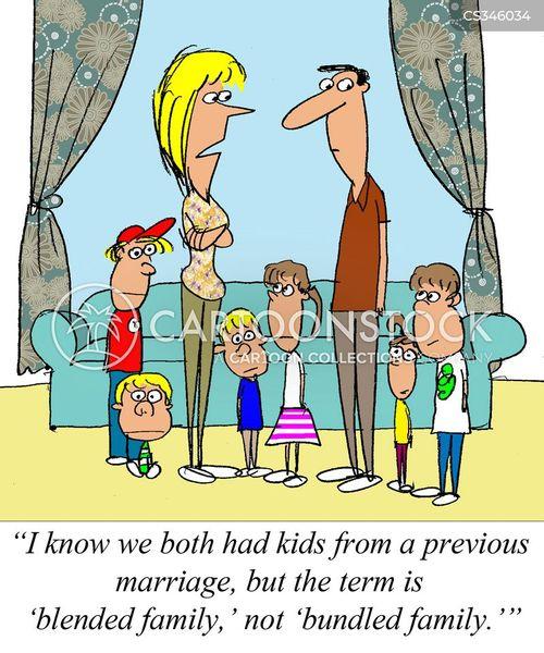 Family Cartoon of 7 Step Family Cartoon 7 of 17
