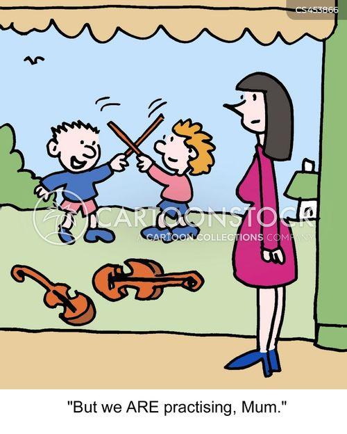 violin practice cartoon