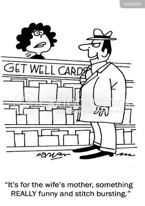 card shopping cartoon
