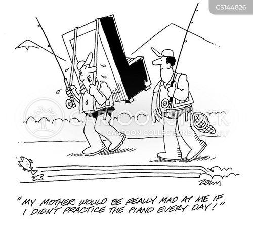 piano practice cartoon