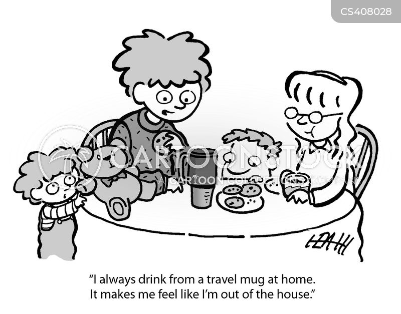 travel cups cartoon