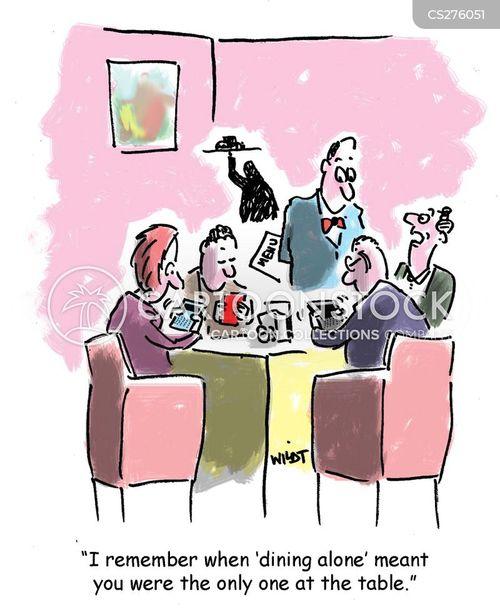 dining alone cartoon
