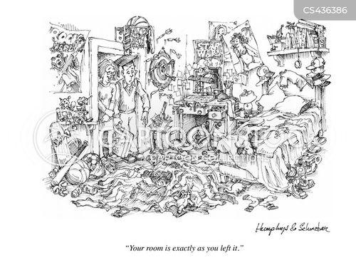 messy rooms cartoon