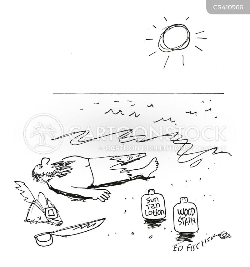 sun bather cartoon