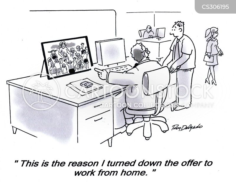 works from home cartoon