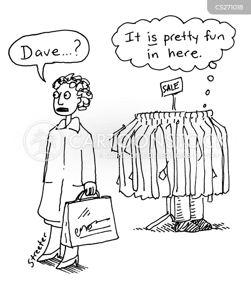 men shopping cartoon