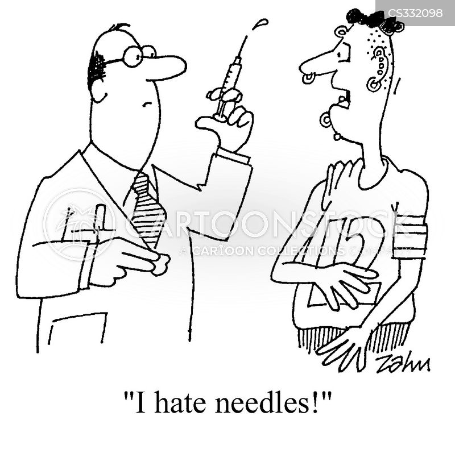 injecting cartoon