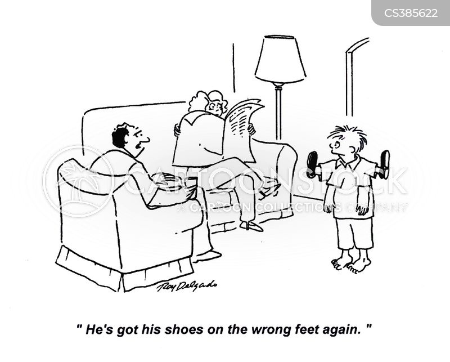 wrong foot cartoon