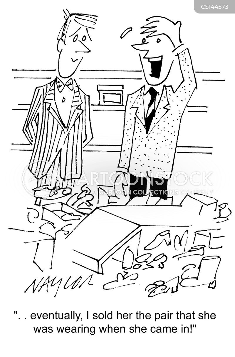 buying shoes cartoon