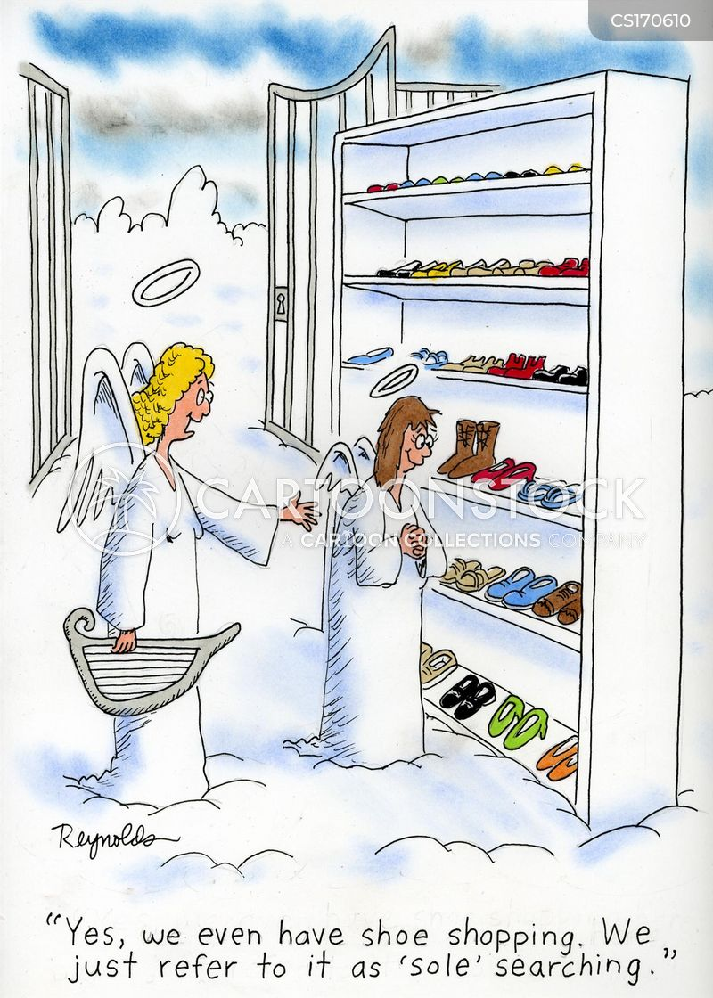 shoe shopping cartoon