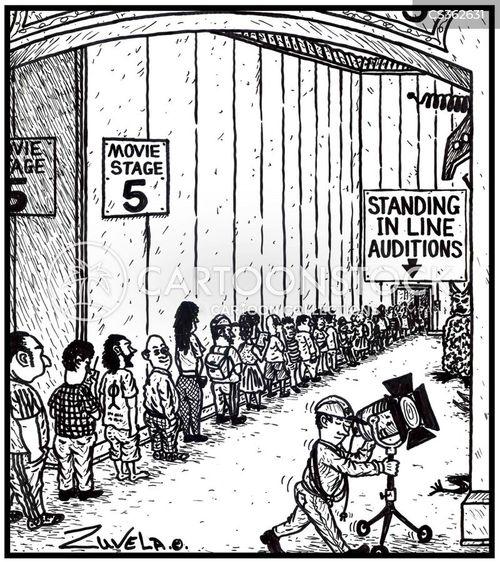 standing in line cartoon