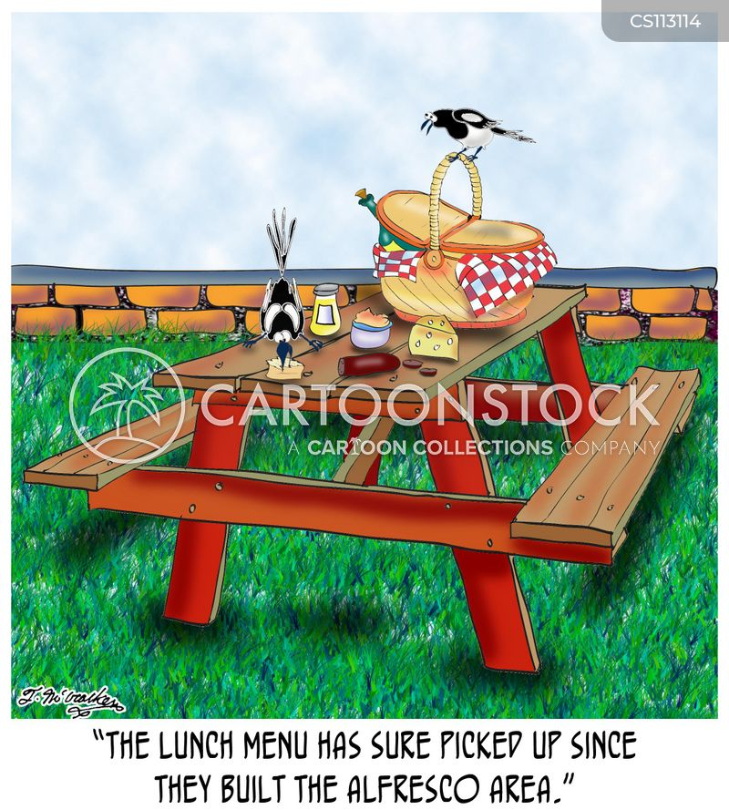 Picnic Table Cartoons And Comics Funny Pictures From CartoonStock - Picnic table with grill built in