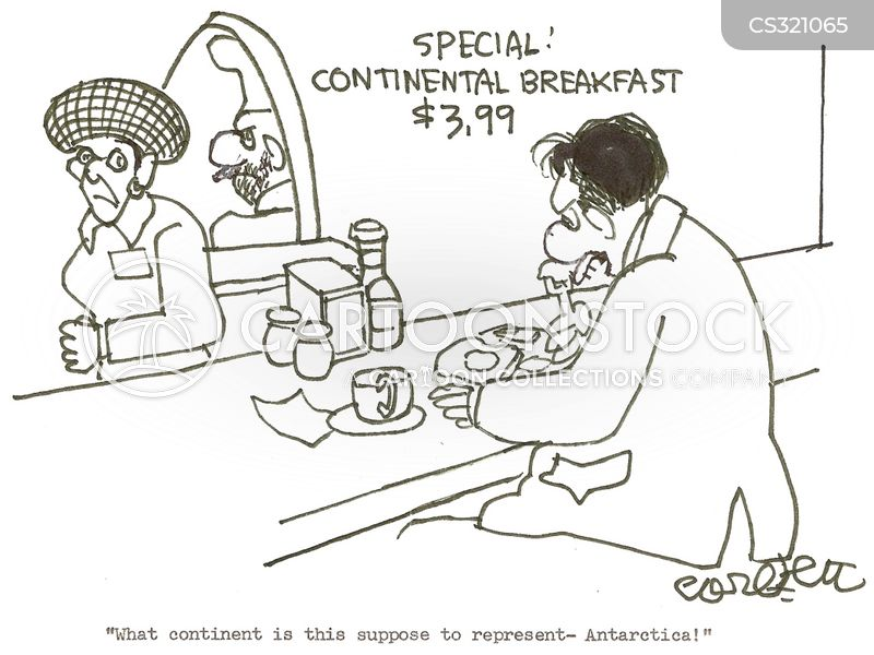 continental breakfast cartoon