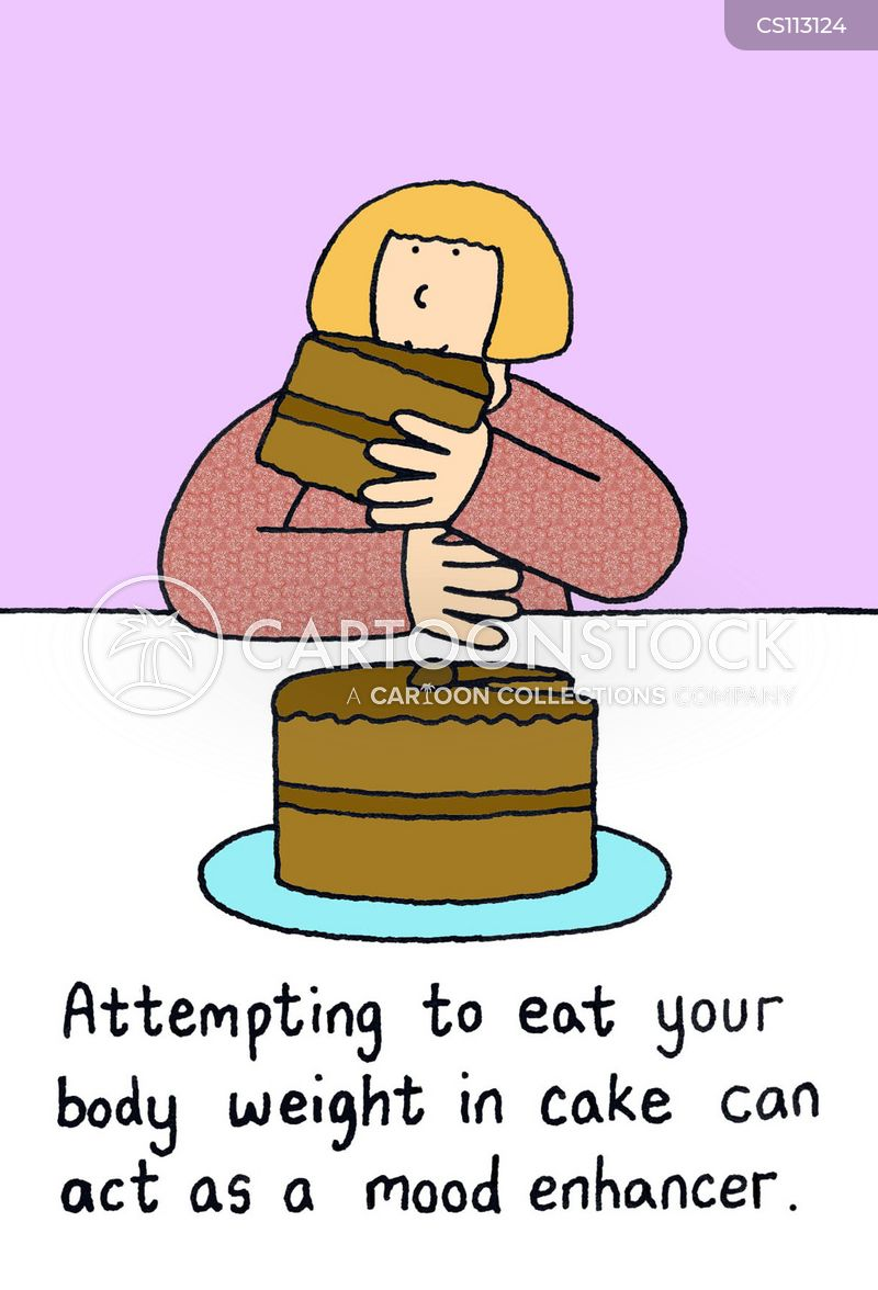 eating cake cartoon