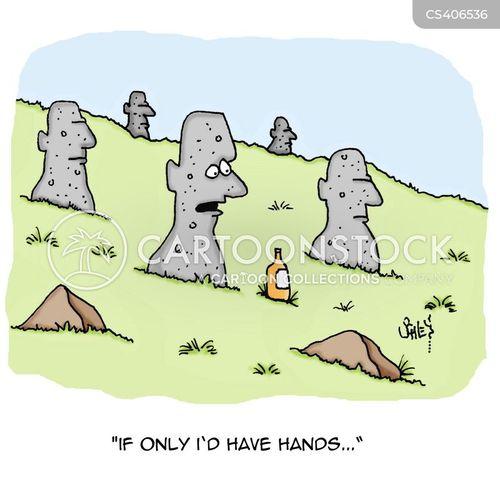 easter island statues cartoon