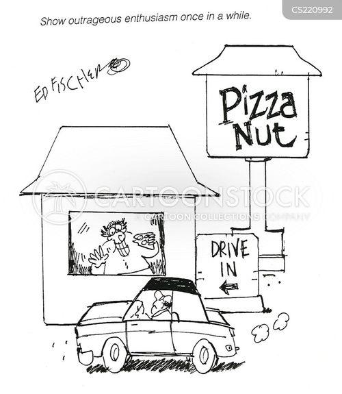 eating pizza cartoon