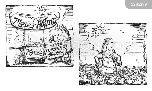 hotdog stall cartoon
