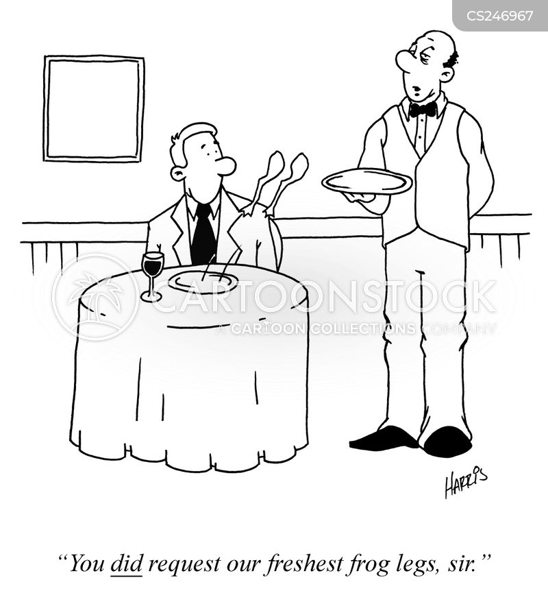 food drink frog frog_s_legs french_cuisine waiters waiter trhn13_low frog legs cartoons and comics funny pictures from cartoonstock