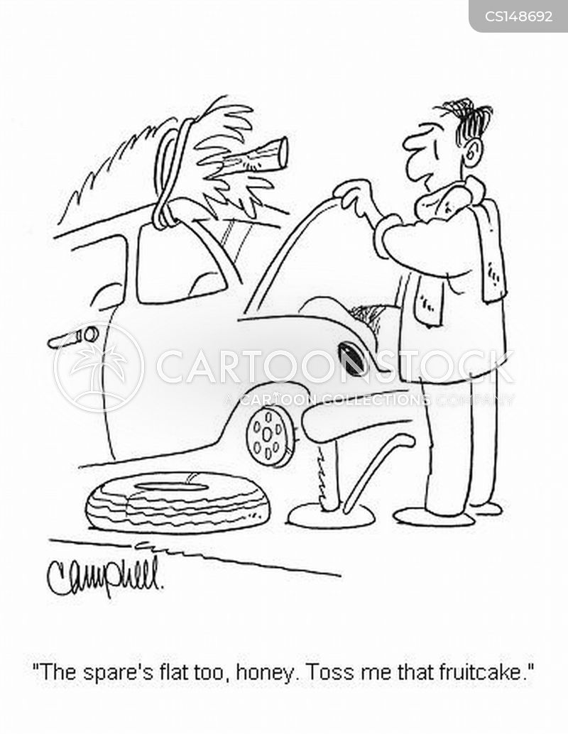 flat tyre cartoon