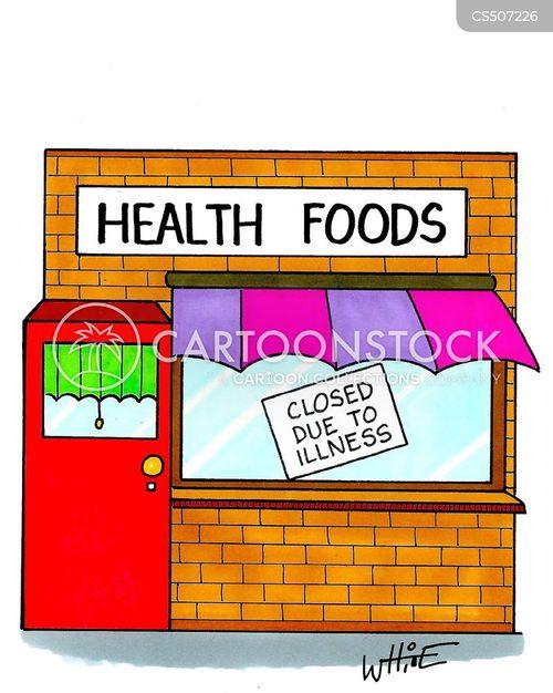 health food shop cartoon