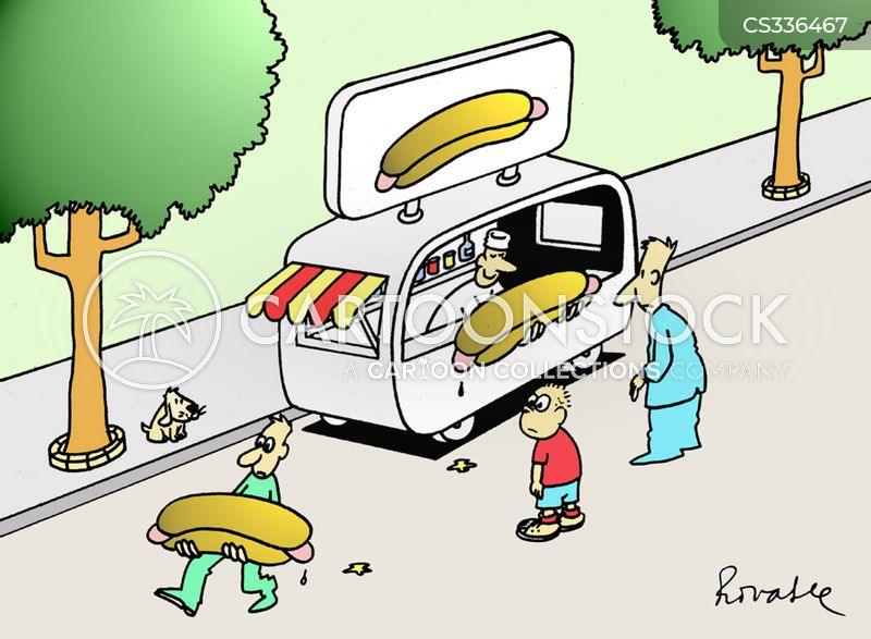 hot dog stalls cartoon