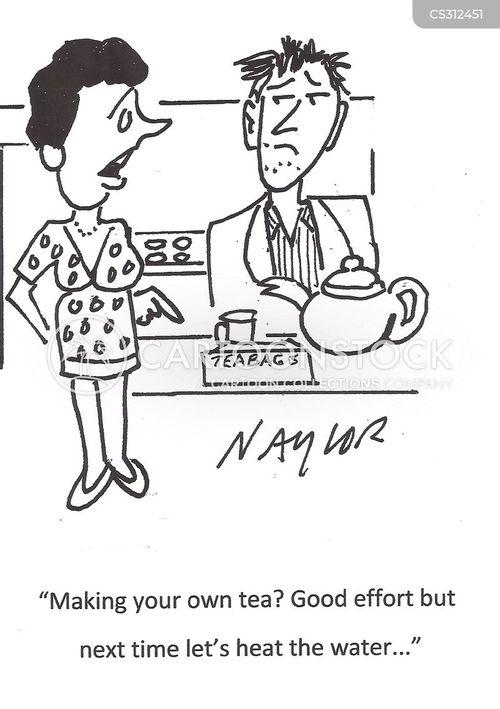 making tea cartoon