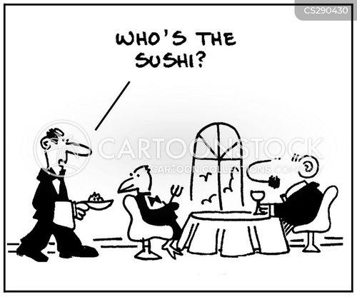 raw fish cartoon
