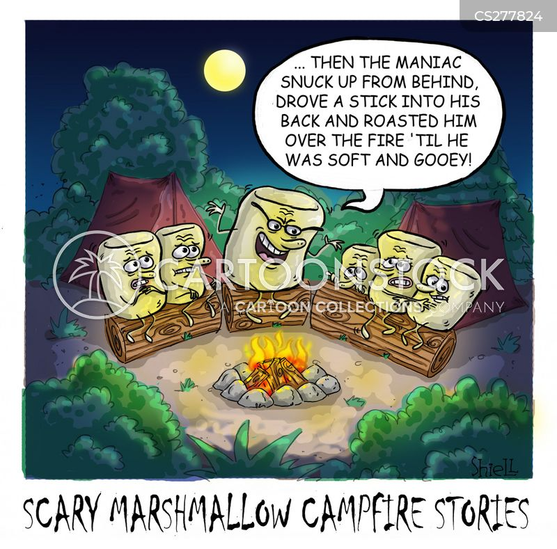 roasting marshmallows cartoon