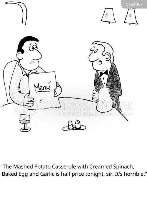 restaurant menu cartoon