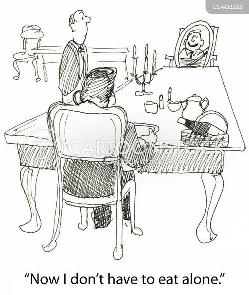eating alone cartoon