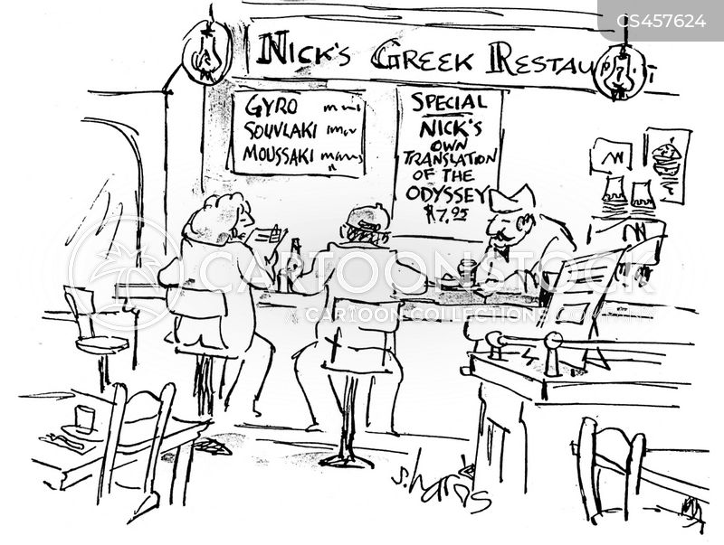 greek food cartoon