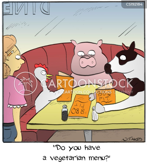 vegetarian menu cartoon
