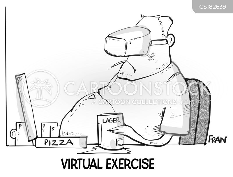 virtual exercise cartoon