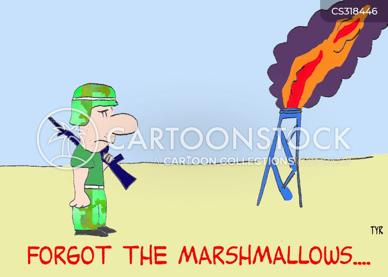toasting marshmallows cartoon