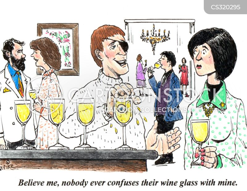 wine party cartoon