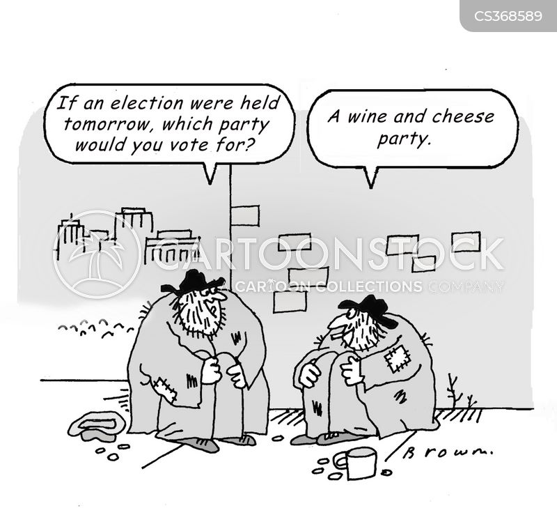 cheese and wine party cartoon
