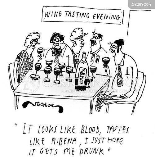 tasting wine cartoon