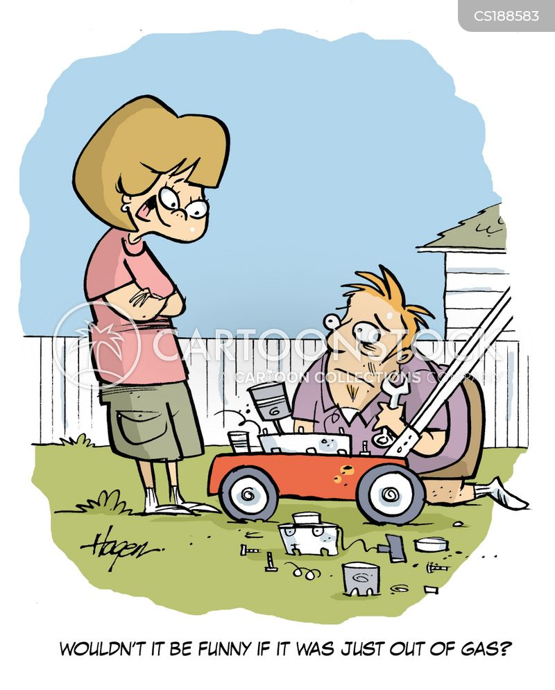just out of gas lawnmower joke cartoon