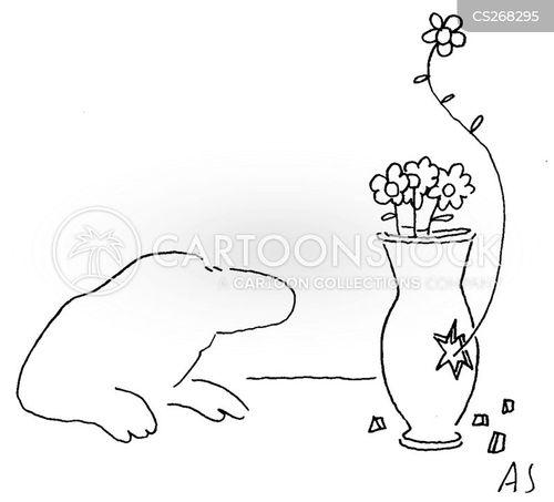 broken vases cartoon