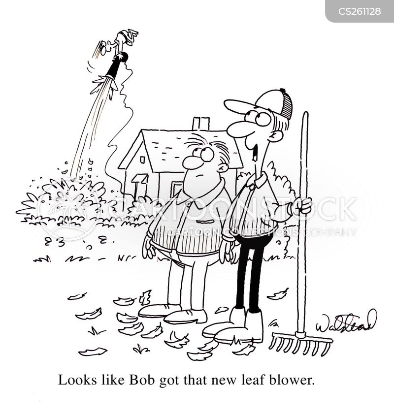 clearing leaves cartoon