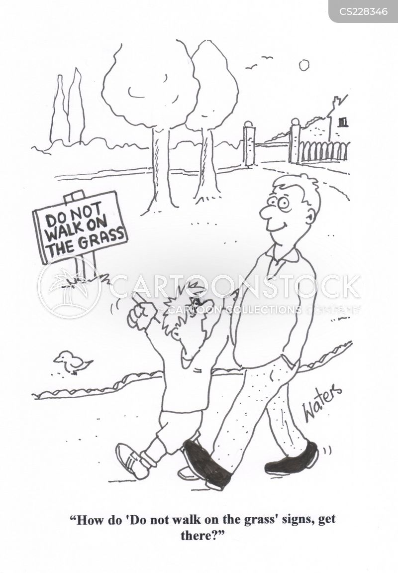do not walk on the grass cartoon