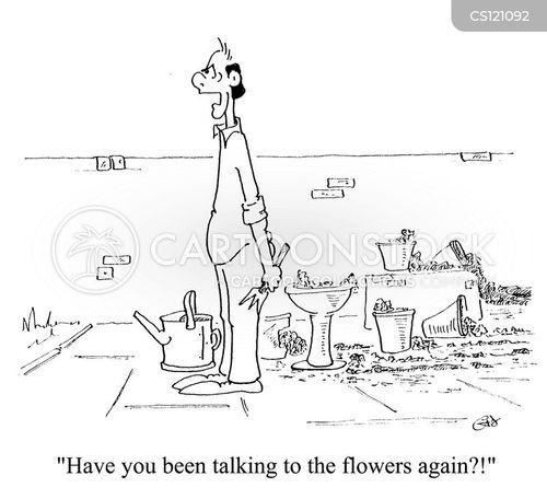 talking to plants cartoon