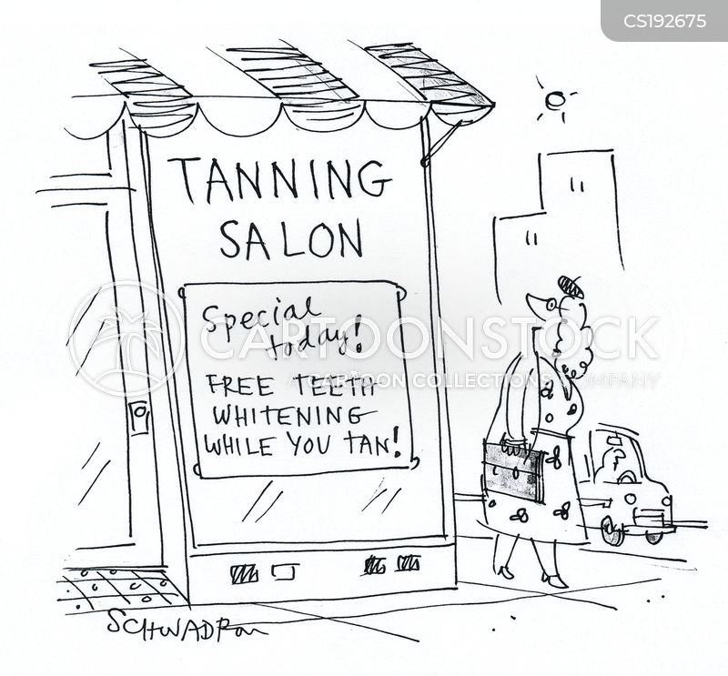 tanning salon cartoon