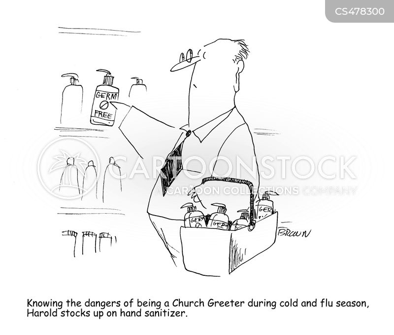 hand sanitizers cartoon